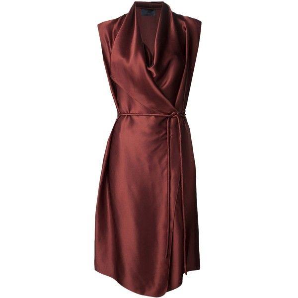 LANVIN cowl neck dress (8.975 BRL) ❤ liked on Polyvore featuring dresses, lanvin, drape dress, wrap dress, red sleeveless dress, red dress and red cowl neck dress