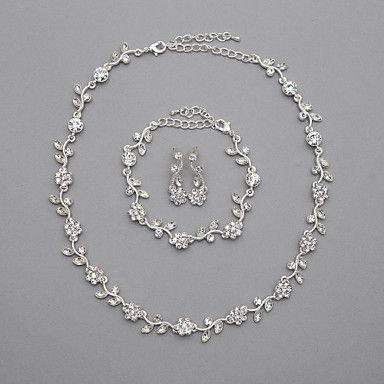 Beautiful Czech Rhinestones Alloy Plated Wedding Necklace And Earrings Jewelry Set – USD $ 14.99