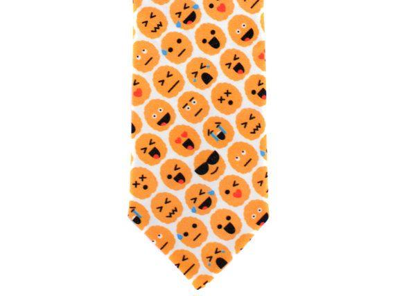 Skinny Tie - Brain Emoji - Orange by handmadephd. Explore more products on http://handmadephd.etsy.com