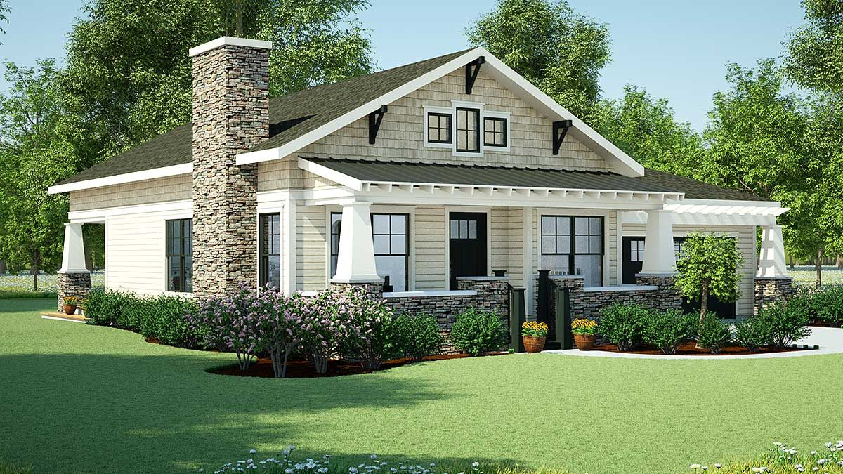 Plan 18267be Simply Simple One Story Bungalow Craftsman House House Plans One Story House Plans