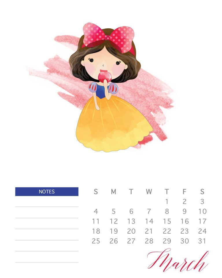 Free Printable Watercolor Princess Calendar Seni Gambar Animasi