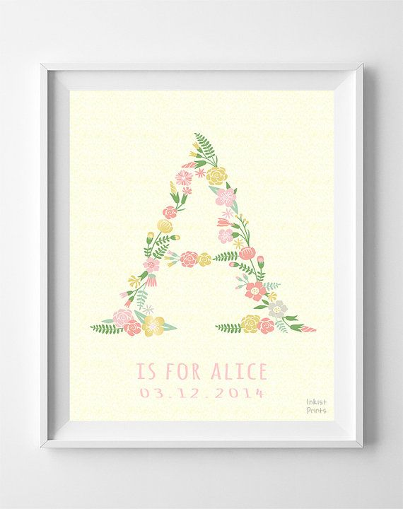 Initial print customizable poster personalized baby gift custom baby gifts alice art baby shower print by inkistprints negle Gallery