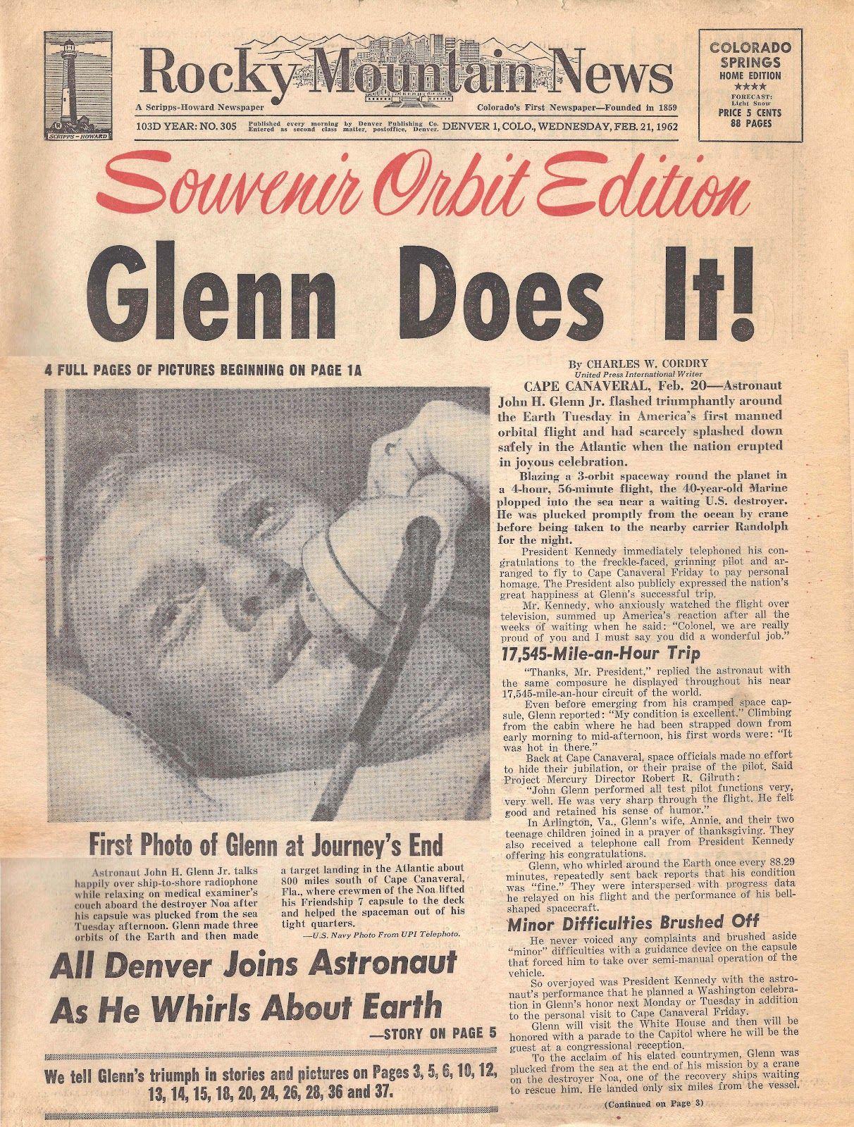 February 20 1962 John Glenn became the first American to orbit