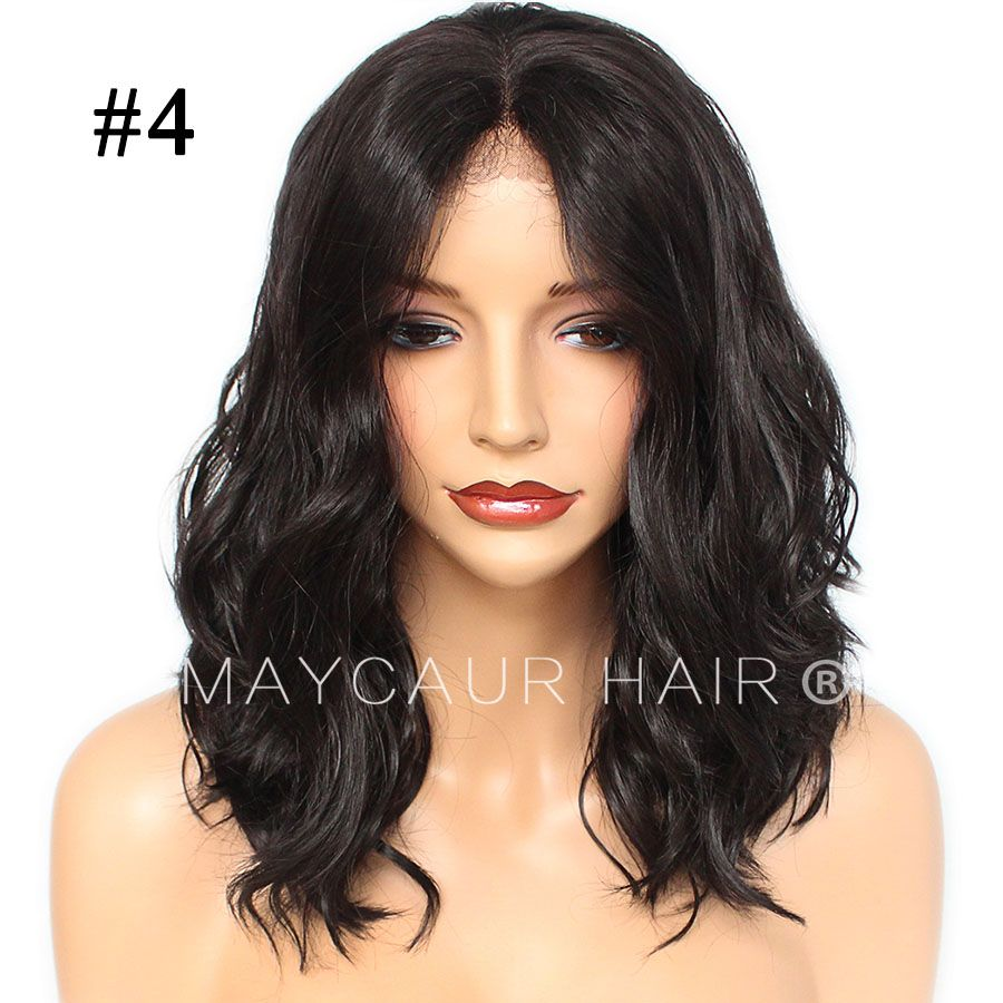 color short bob hair short wavy synthetic lace front wigs for