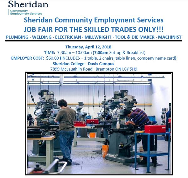 Job Fair For Skilled Trades Sheridan College Davis Campus Brampton 7899 McLaughlin Rd