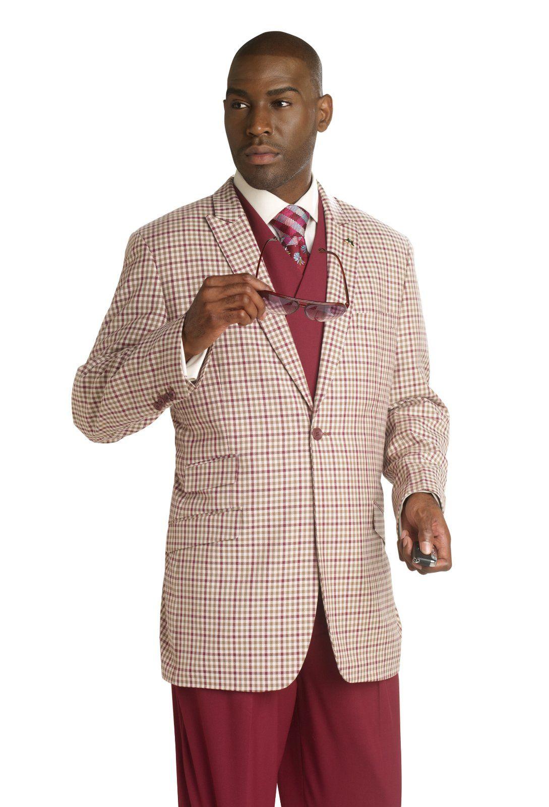 EJ Samuel Burgundy Plaid 3 Piece Jacket Vest Pants Fashion Mens ...