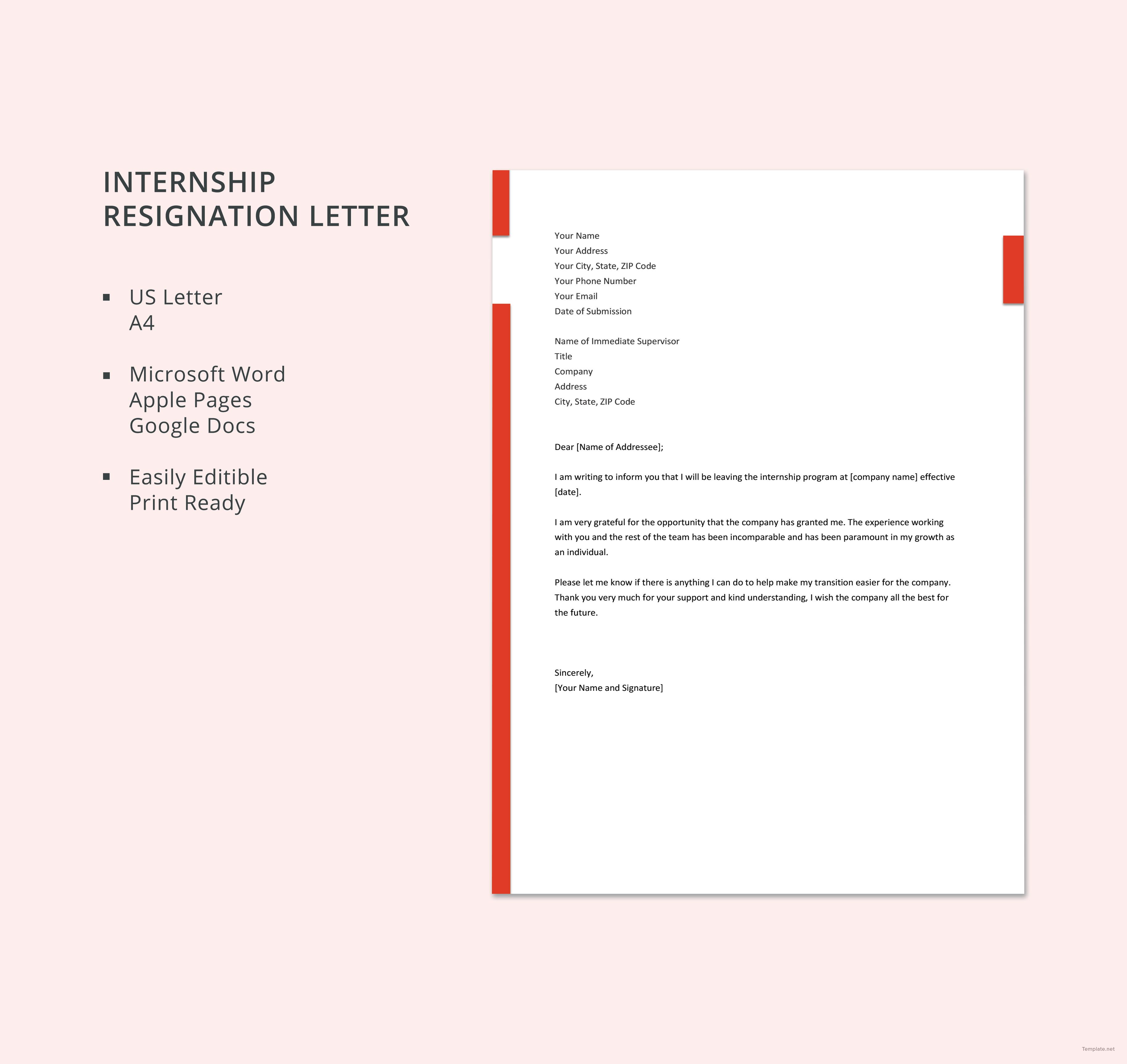 Internship Resignation Letter Template Free Pdf Google Docs Word Apple Pages Template Net Resignation Letter Letter Templates Lettering Microsoft word resignation letter template