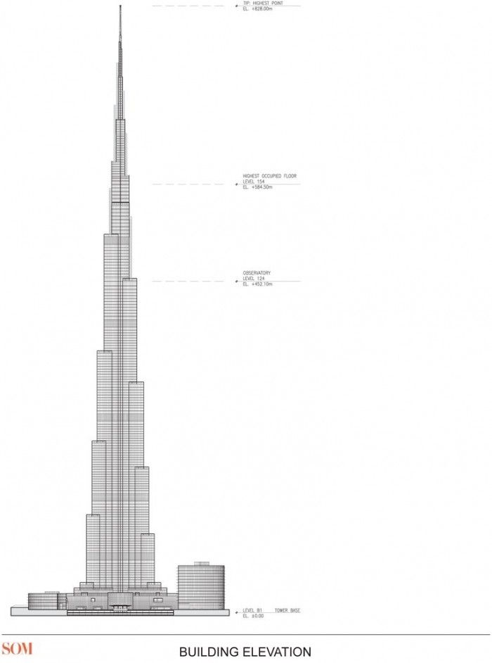 Burj khalifa elevation pinterest burj khalifa for Burj khalifa sketch