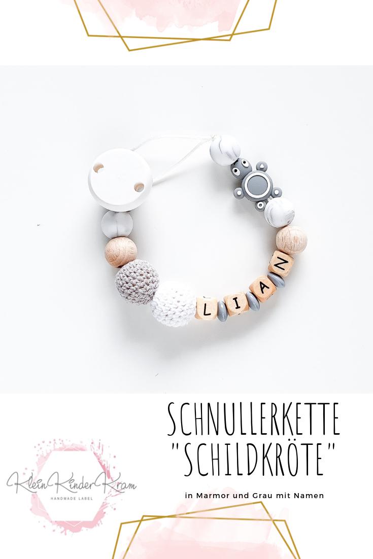 SchnullerketteSchildkr/öte in Mamor und Grau mit Silikon und H/äkelperlen f/ür M/ädchen und Jungen