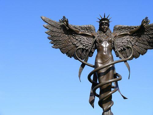 Project Caduceus bronze sculpture at St. Louis University