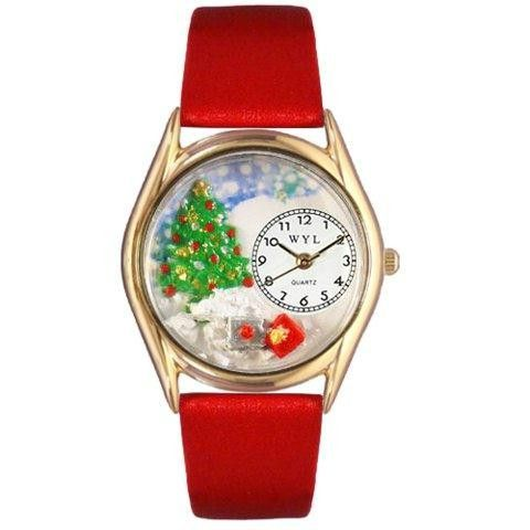 Whimsical Womens Christmas Tree Red Leather Watch