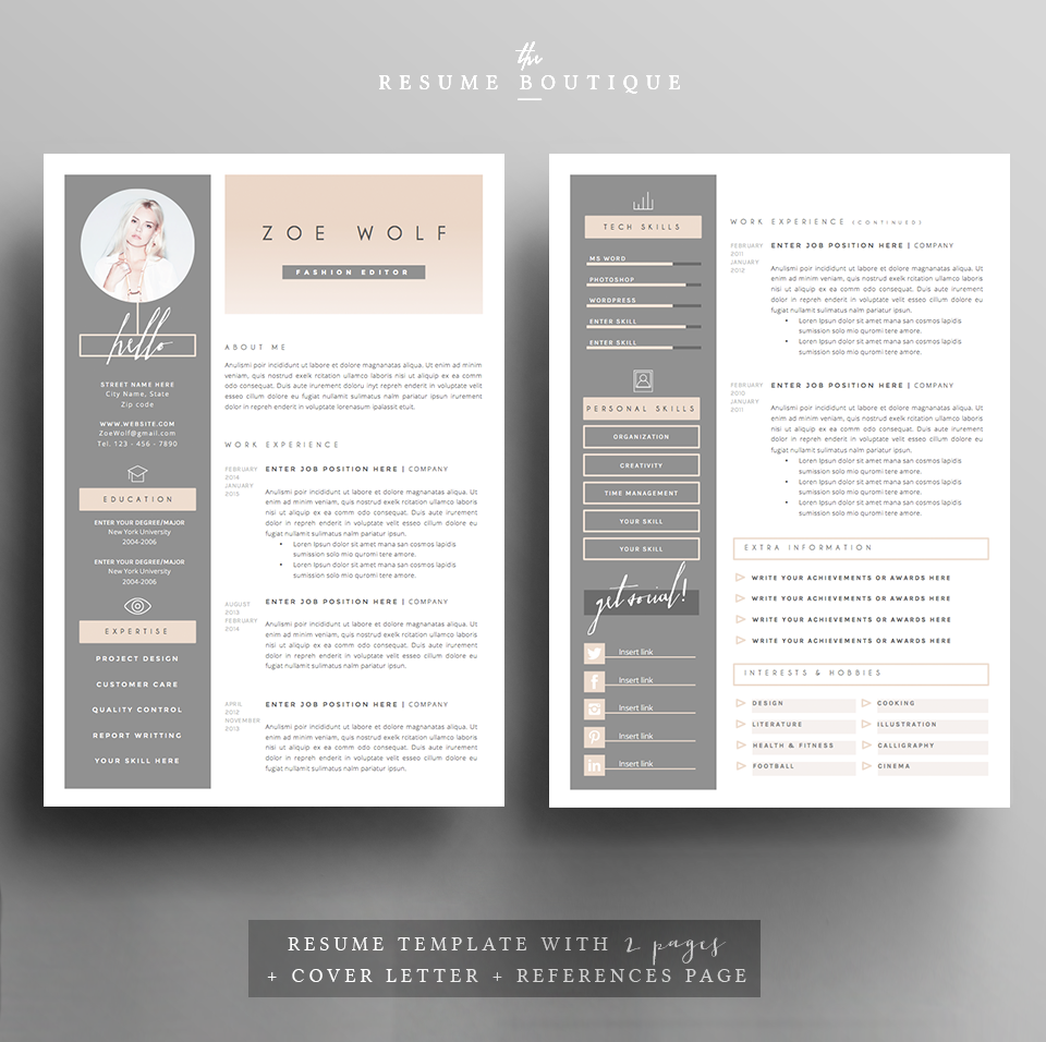 Resume Template Page  Dolce Vita By TheResumeBoutique On