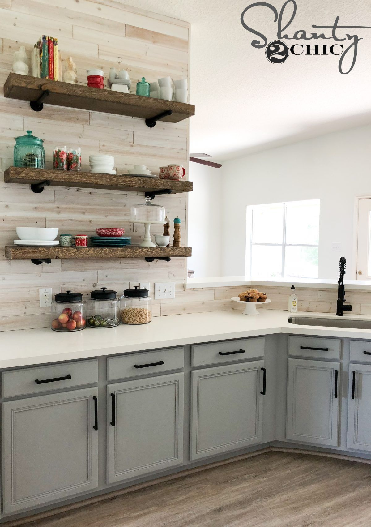 Update Your Builder Grade Kitchen With This Affordable Diy Driftwood Backsplash Free Pla New Kitchen Cabinets Refacing Kitchen Cabinets Diy Kitchen Renovation