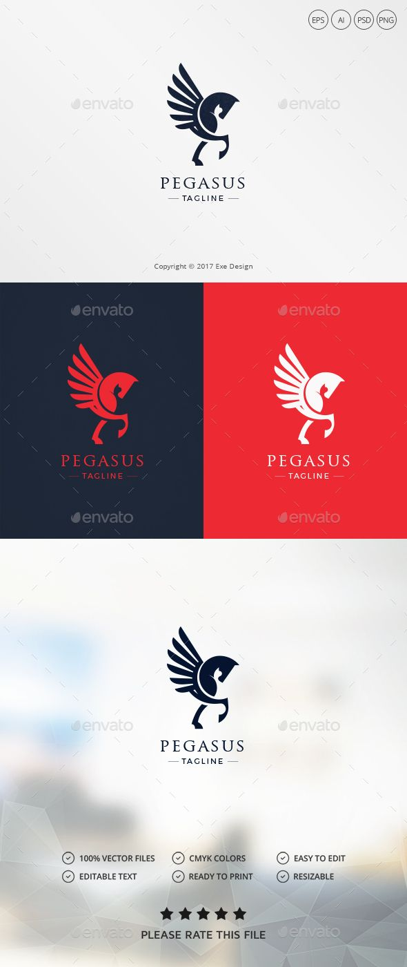 Pegasus Logo — Photoshop PSD #horse #wing • Download ➝ https://graphicriver.net/item/pegasus-logo/19626170?ref=pxcr
