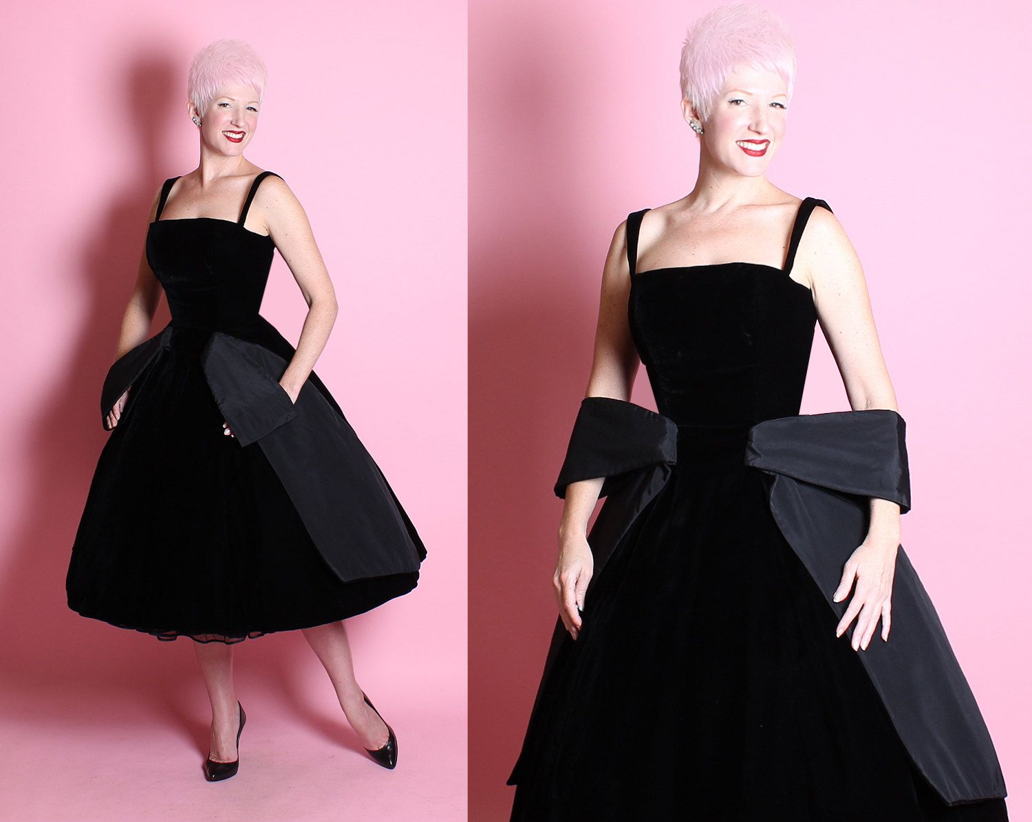 COUTURE 1950\'s New Look Inky Black Silk Velvet Party Dress w/ 3D ...