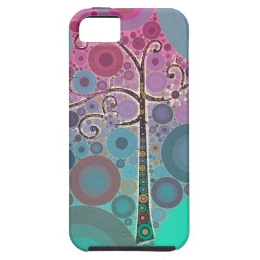 Funky Colorful Scroll Tree Circles Bubbles Pop Art iPhone 5 Case SOLD on Zazzle