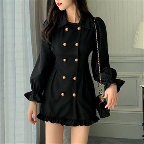 Vintage Tunic Pencil Dress - black / S