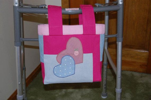 Pink and Blue Heart Woman's Walker Pouch by delightfullycreated7, $15.00