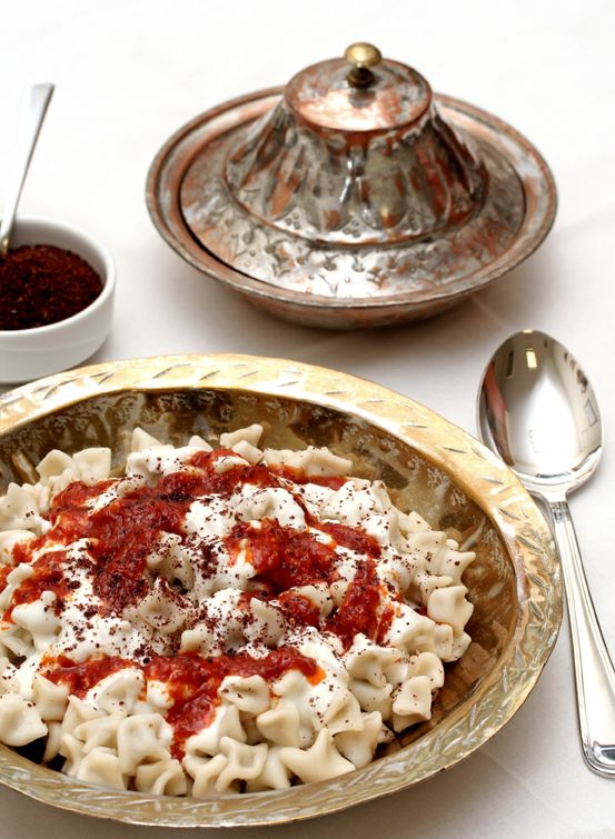 Traditional manti - Turkish ravioli filled with spiced meat mixture, usually lamb