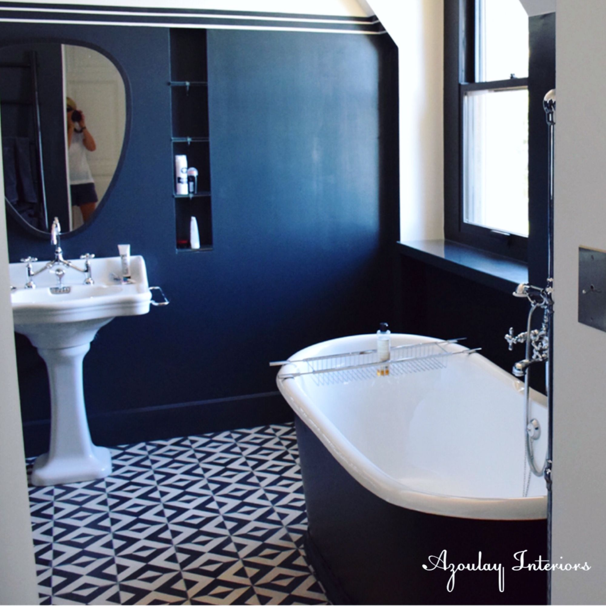 African tiles bathroom - For This Bathroom We Used African Design Cement Tiles From Carocim The Walls Are