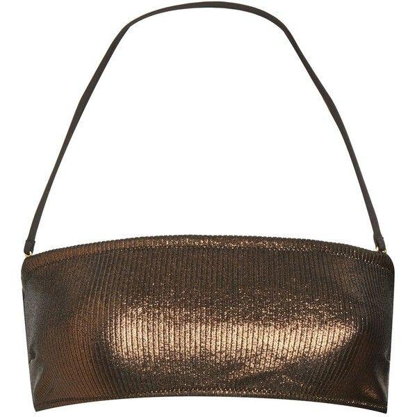 35e228e5ea9aa Topshop Metallic Ribbed Bandeau Bikini Top ($32) ❤ liked on Polyvore  featuring swimwear, bikinis, bikini tops, bronze, bandeau bikini, ribbed  bikini, ...