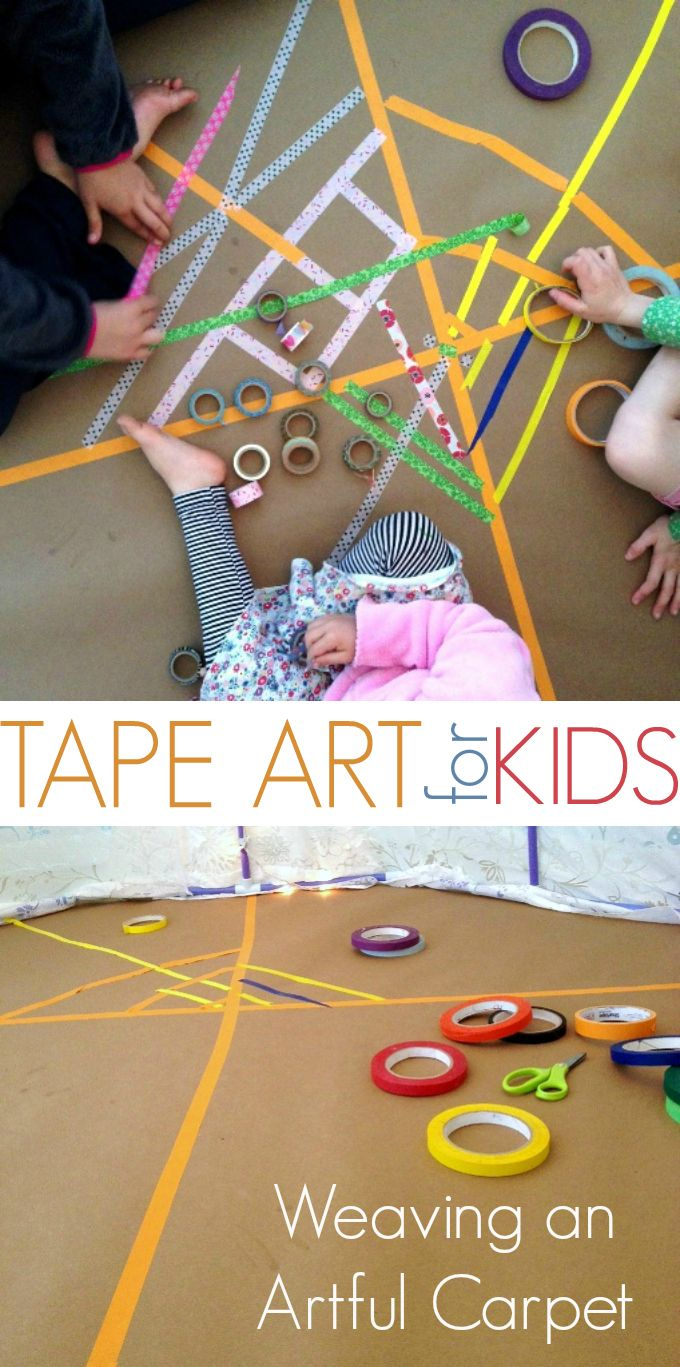 This looks like so much fun! Tape Art for Kids :: Weaving a rug with colored masking tape and washi tape...