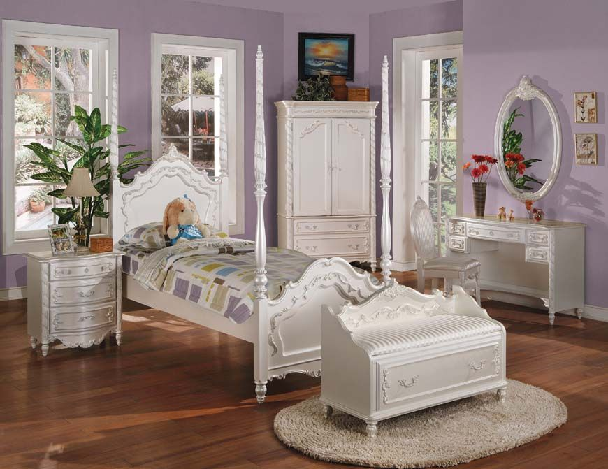 love the bed, armoire, mirror, rug  nightstand Home Girls