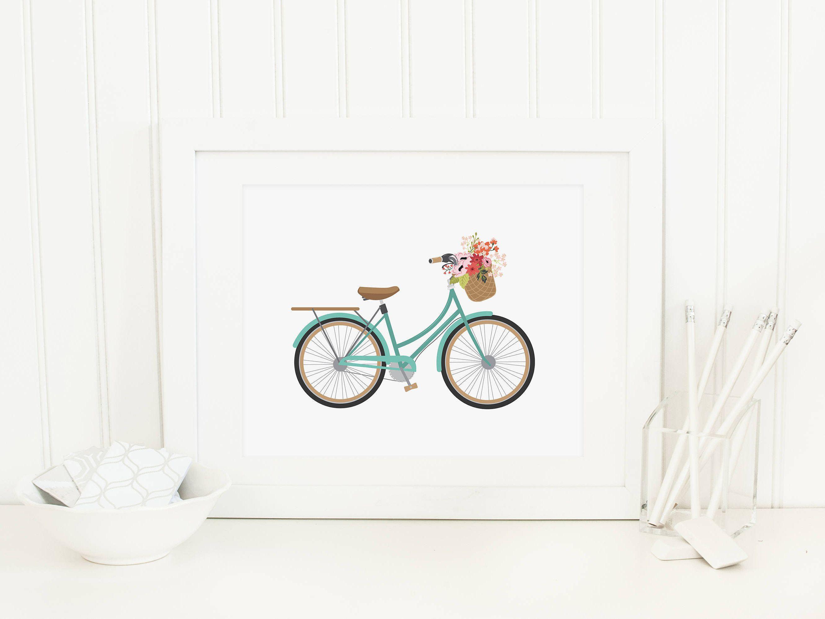 Bicycle Printable Aqua Bicycle Wall Art Bicycle With Flower Basket ...