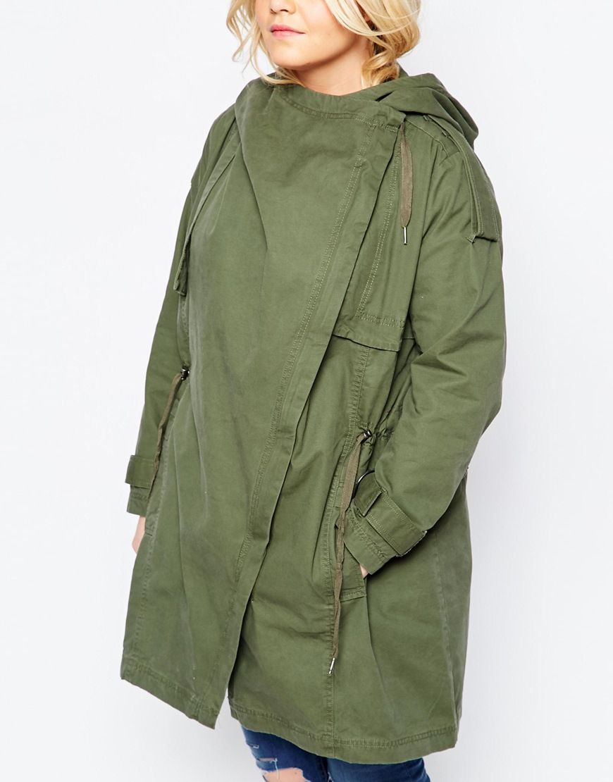 52a5e347c3ba2 Image 3 of ASOS CURVE Parka with Waterfall and Storm Flap
