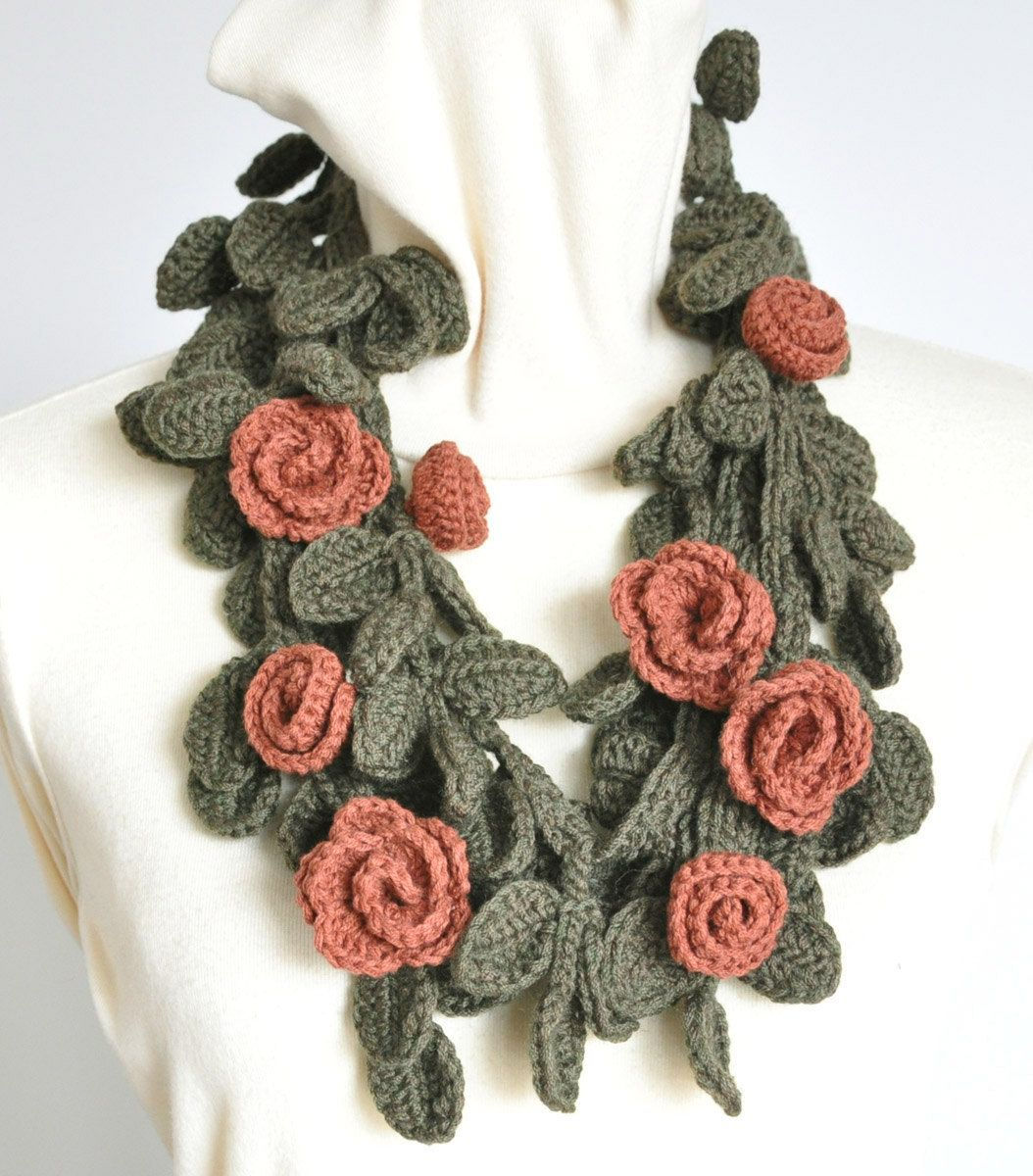 VITALITY - Brick Red - Crochet Flowers and Leaves Scarf/Lariat. $33.00, via Etsy.