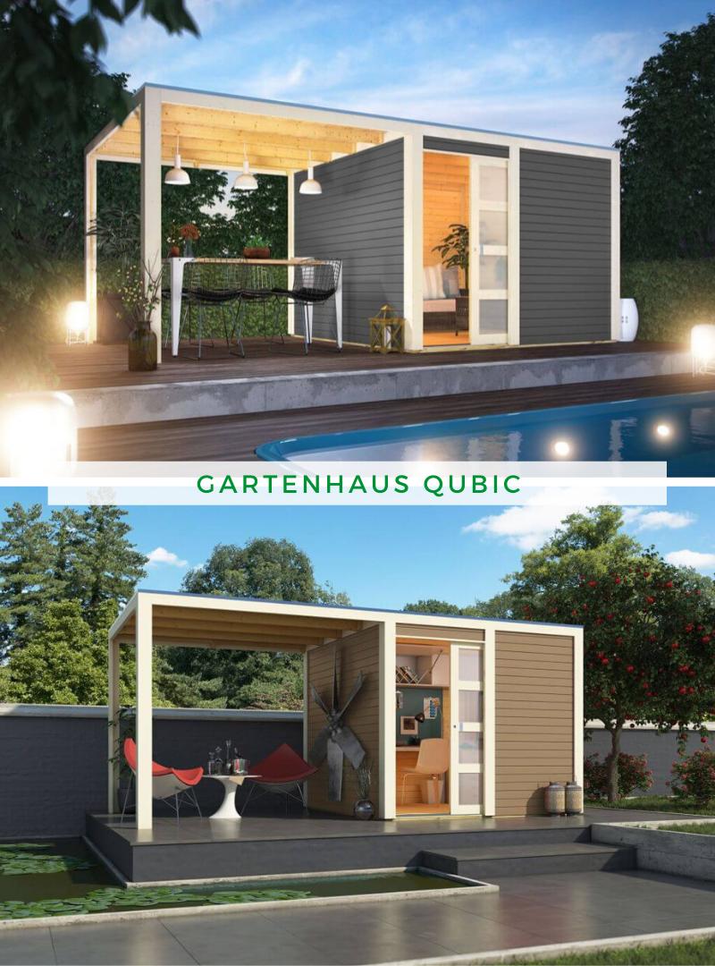 Karibu Gartenhaus Qubic (optional mit Anbaudach