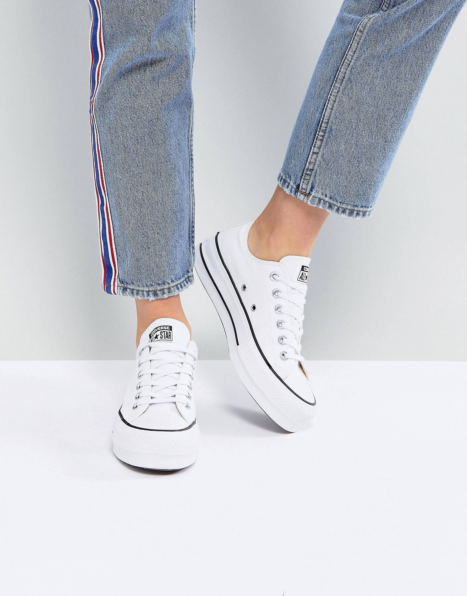 70d933fd62c Converse Chuck Taylor All Star Platform Ox Trainers In White in 2019 ...