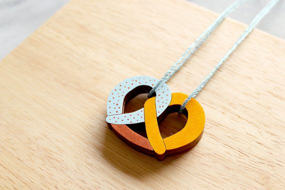 Pretzel Necklace . Wooden Necklace . Bakery . Boulangerie . Bread Necklace . Copper Accents