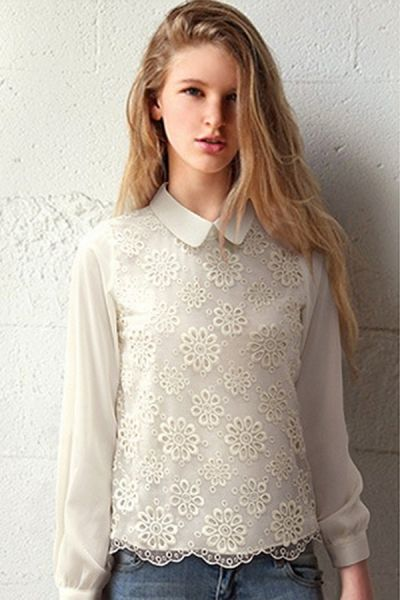 Floral Crocheted Collared Shirt OASAP.com