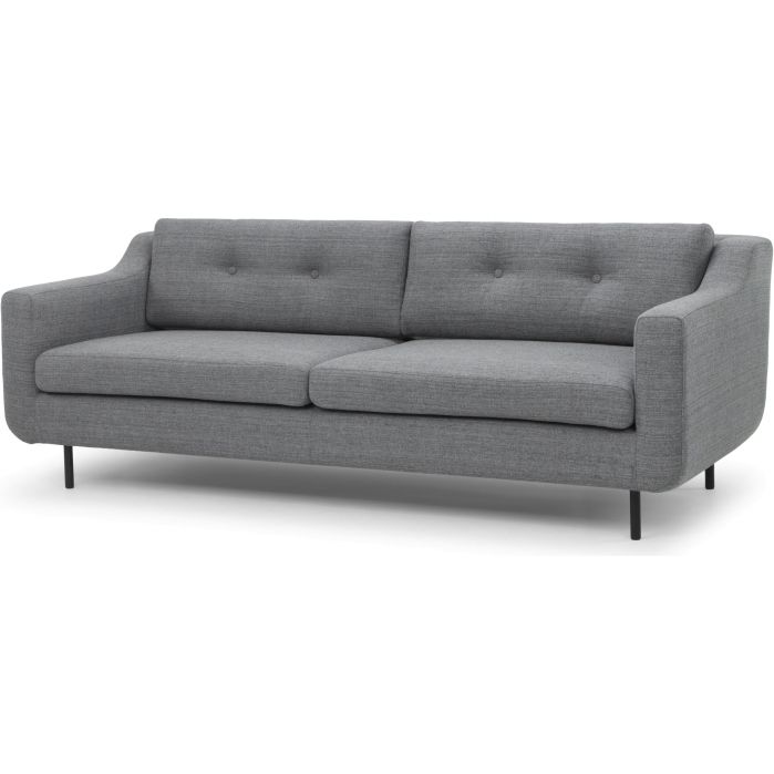 Sasha 3 Seater Sofa W Buttons In Steel Grey Colour Seater Sofa