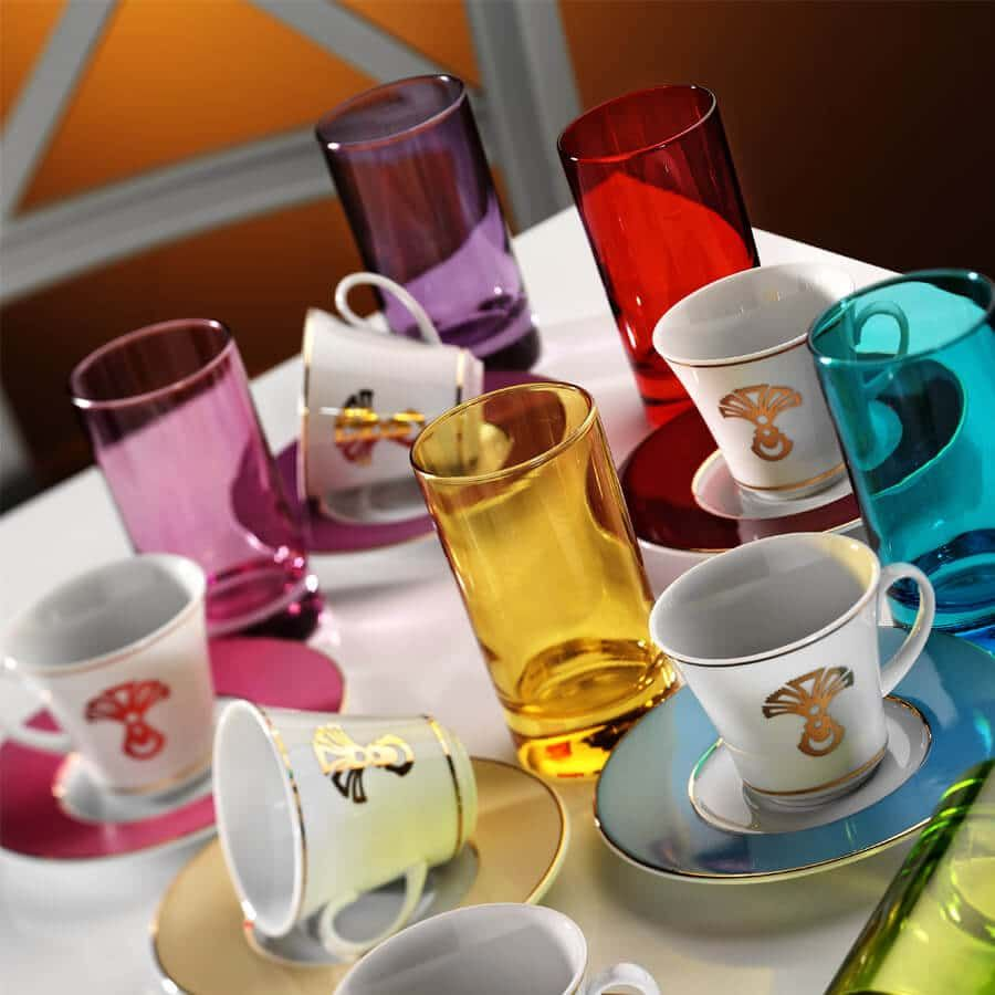 Buy Colour Turkish Coffee Serving Set for Six Turkish