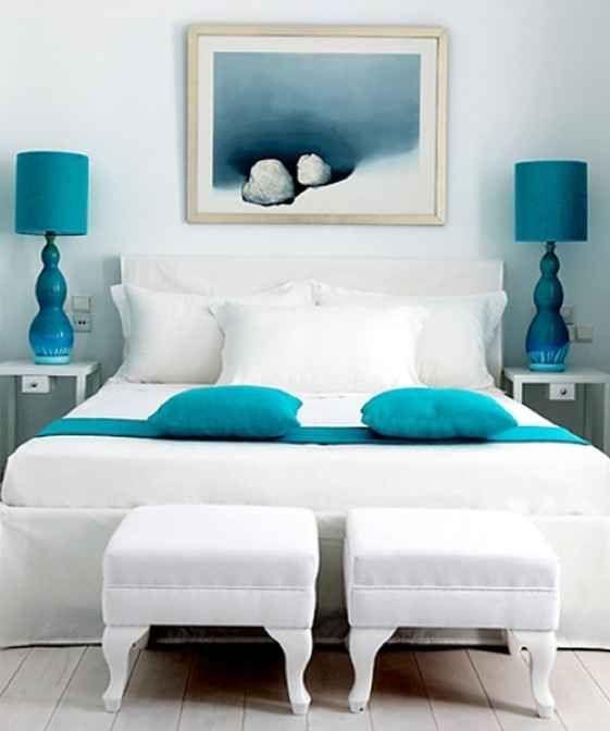 Modern Aqua White Bedroom Decor | bedroom. | White bedroom ...