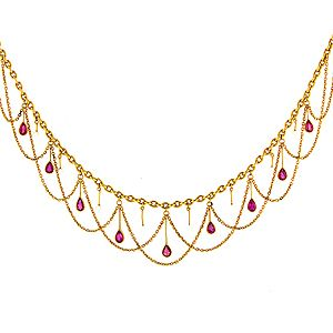 Antique Ruby & Pearl Swag Necklace from Doyle & Doyle. c.1890