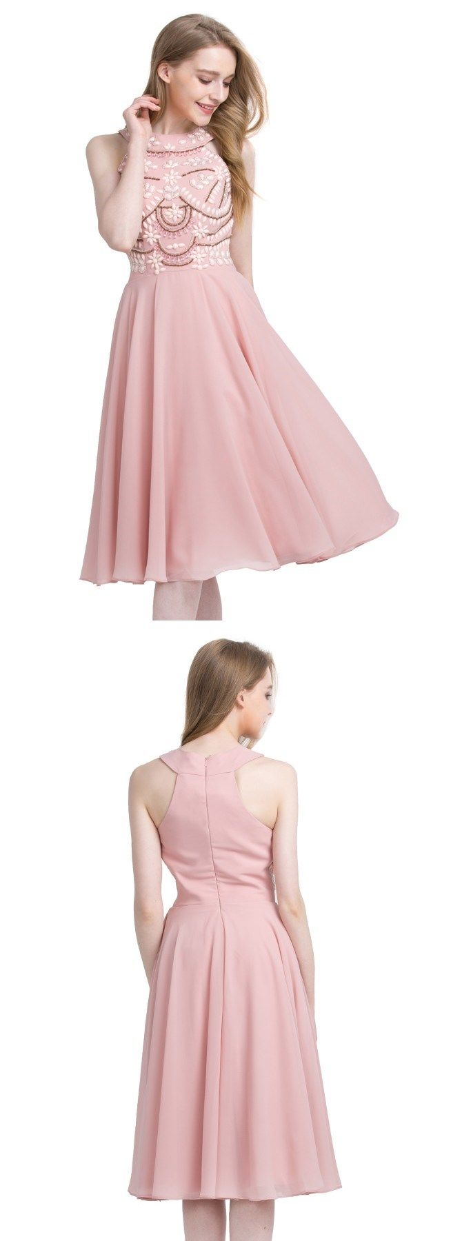 Pink Knee-Length Jewel Sleeveless Prom Homecoming Dress with Beading ...