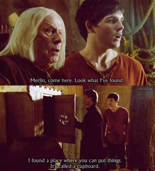 This was so funny, because Merlin and Gauis both thought Arthur had found Merlin's book of magic. :)