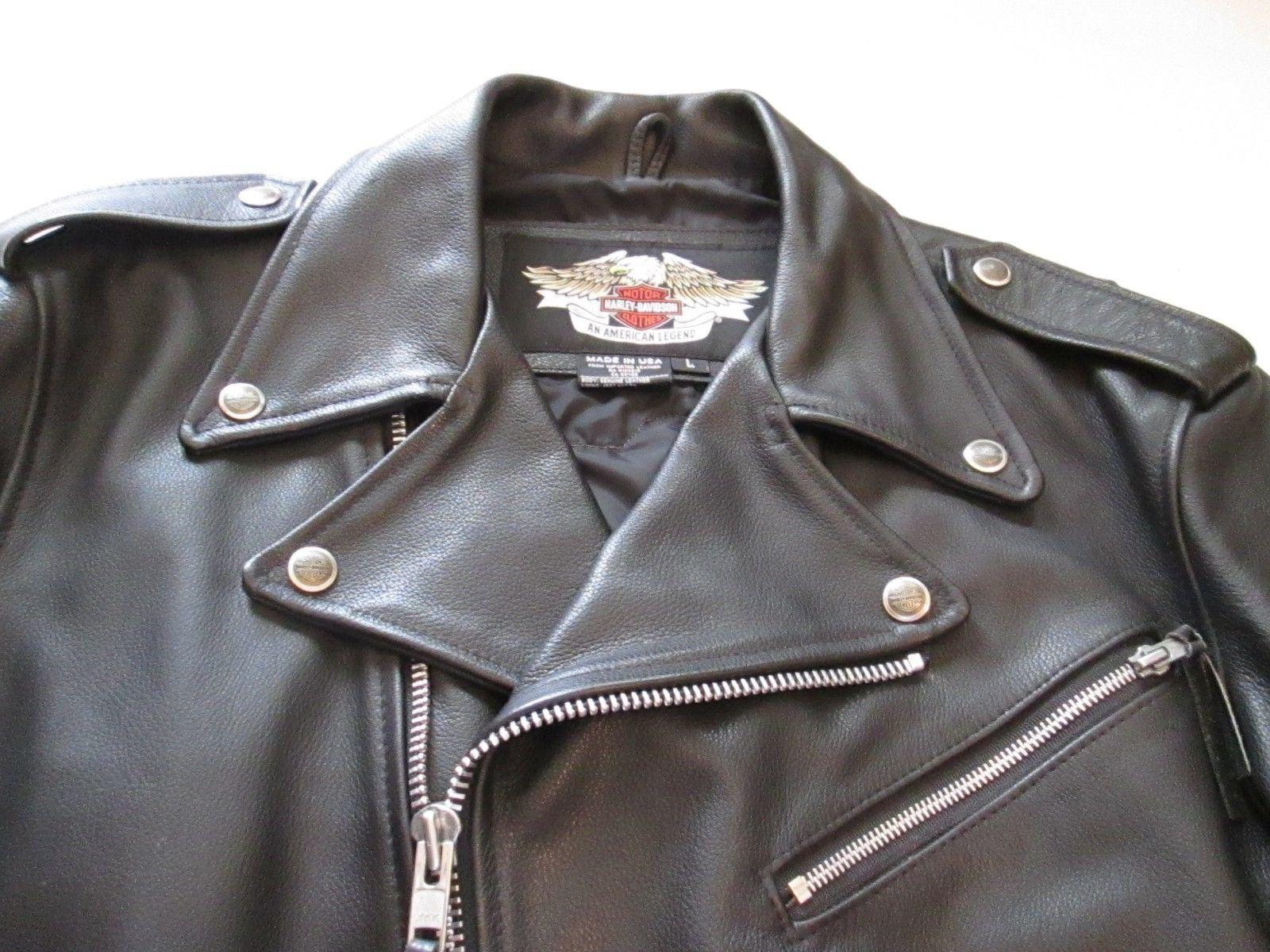 Harley Davidson Mens Basic Skins Flag Leather Jacket W Patch Size L Made In Usa Leather Jacket Harley Davidson Jackets