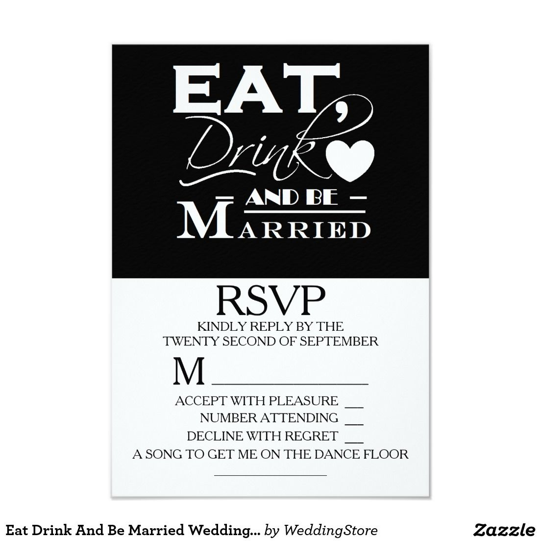 eat drink and be married wedding rsvp card | wedding, drinks and cards, Wedding invitations