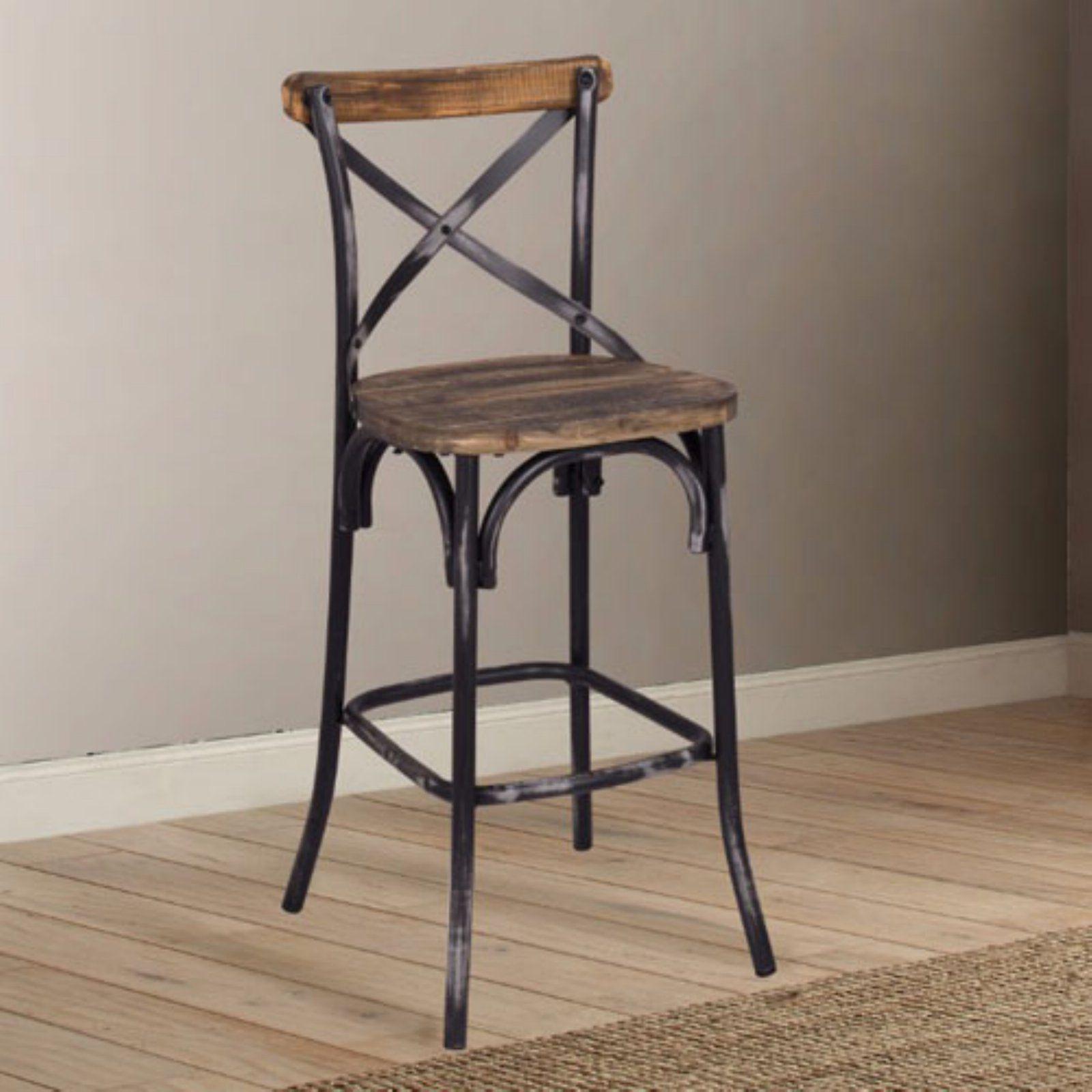 Swell Benzara Rustic 29 In Cross Back Bar Stool Black In 2019 Spiritservingveterans Wood Chair Design Ideas Spiritservingveteransorg