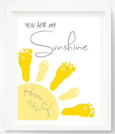 You Are My Sunshine Baby Footprint Art Print Gray Yellow