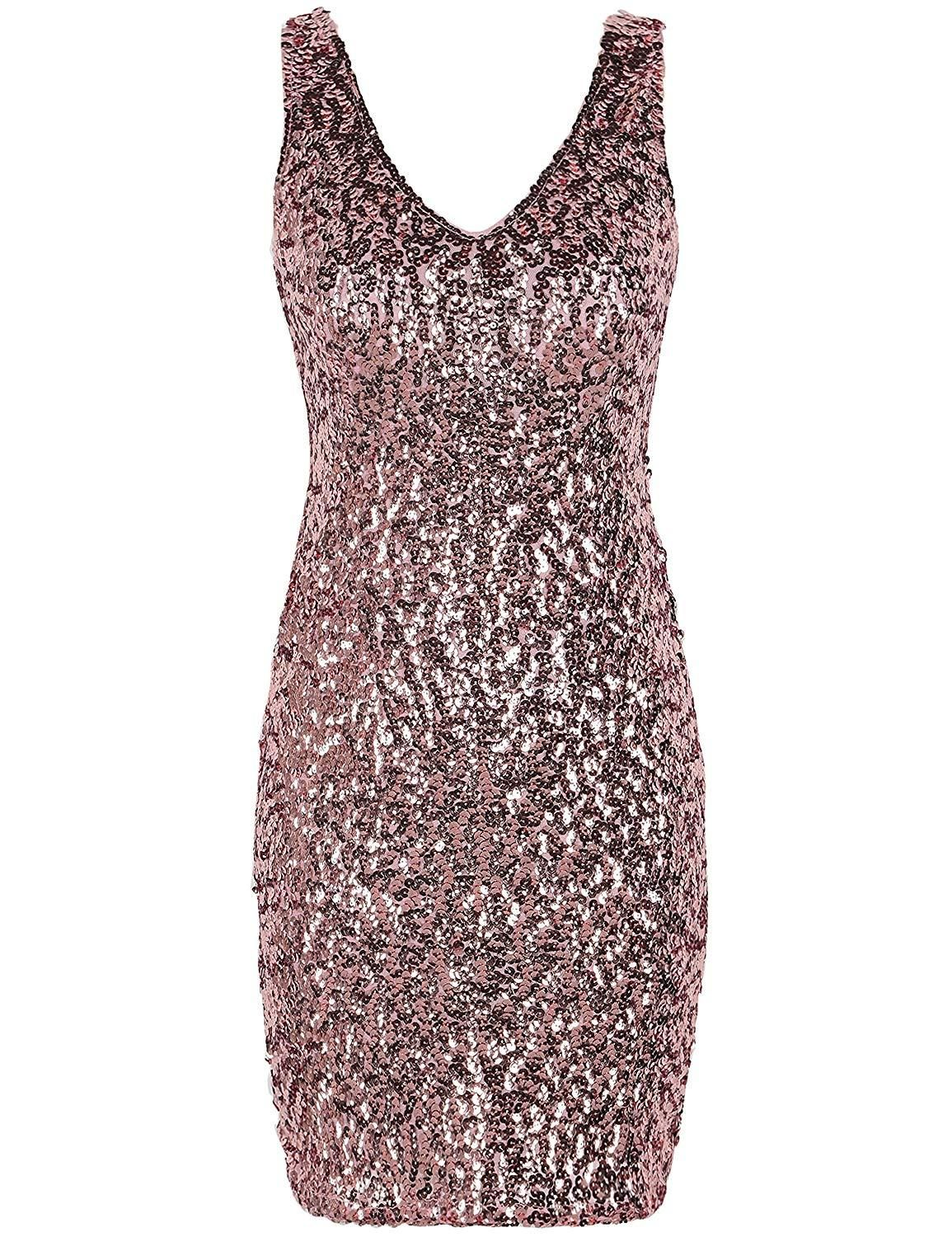c7f9c834e3a2 PrettyGuide Women's Sexy Deep V Neck Sequin Glitter Bodycon Stretchy Mini Party  Dress