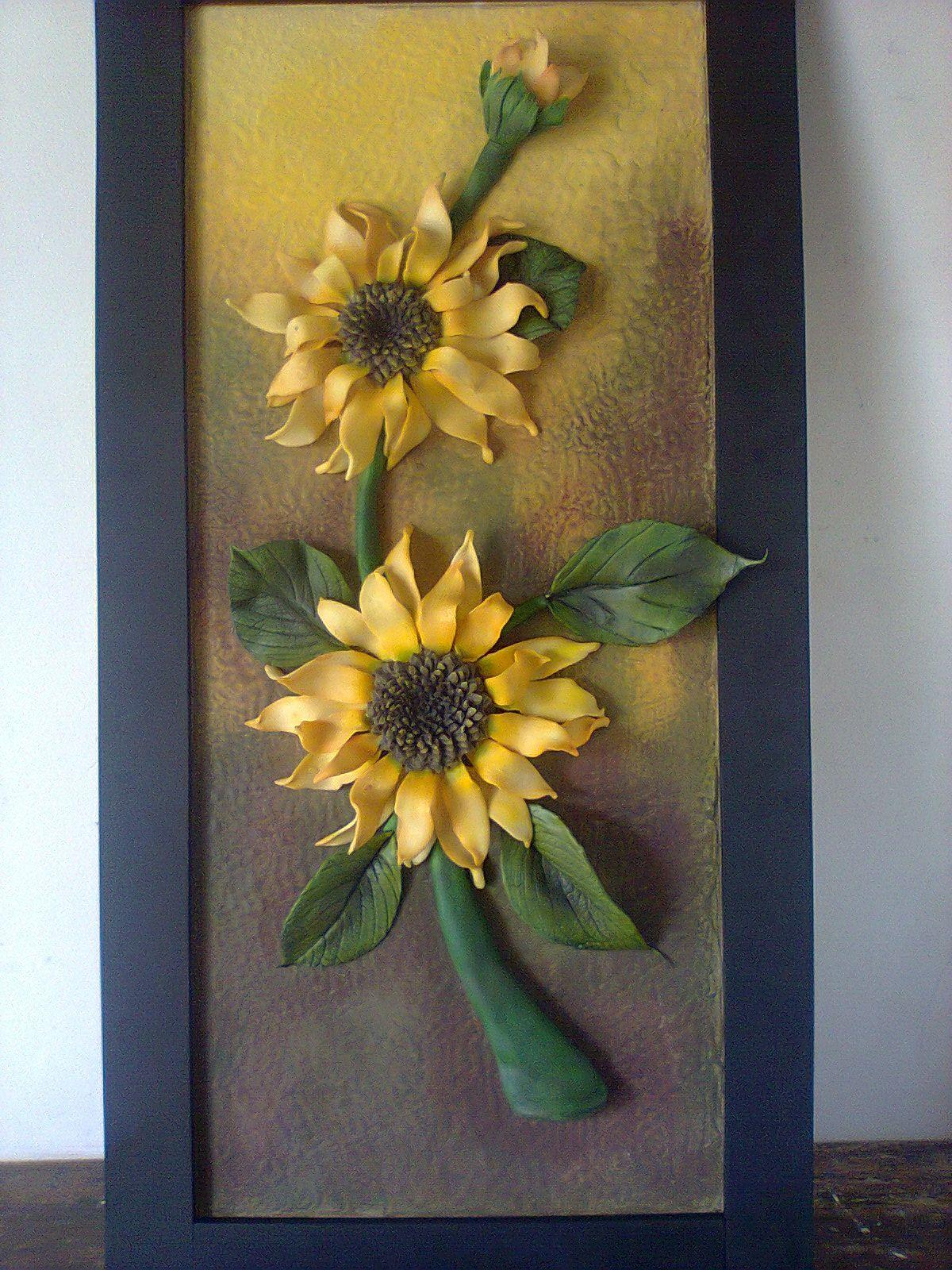 laminas de girasoles - Buscar con Google   Clay wall art, Mural art, Clay  art projects