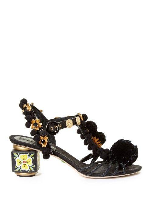 785bedd65 Dolce & Gabbana Pompom-embellished block-heel sandals   shoes Dolce ...