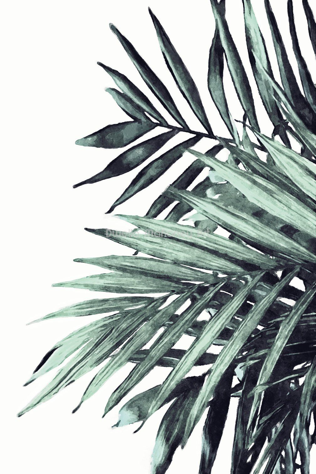 Palm Leaf Print Watercolor Palm Leaves Tropical Leaf Print