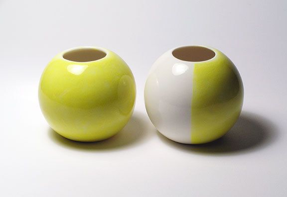 Sphere Vases - Pair, All Yellow and Yellow & White - Set of 2. $44.00, via Etsy.