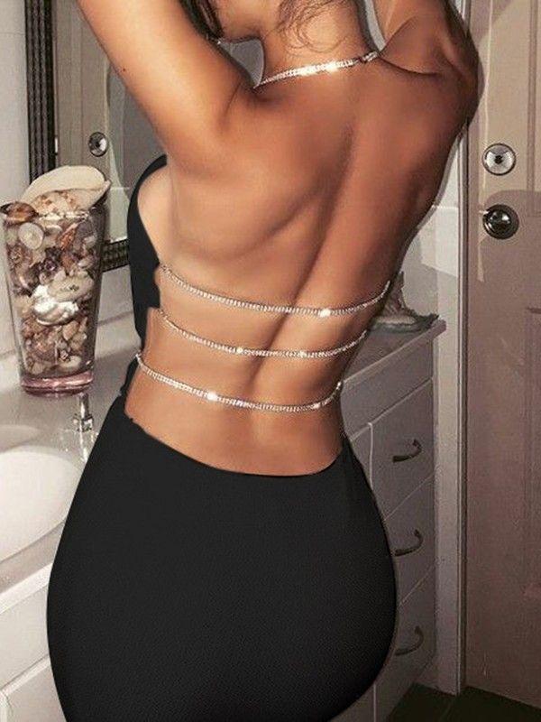Black Patchwork Sequin Halter Neck Backless Bodycon Fashion Mini Dress - #Backle... 3